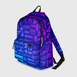Рюкзак Неоновые геймерские лого цвета 3D — фото 1