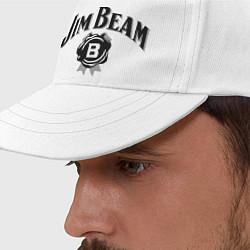 Бейсболка Jim Beam logo цвета белый — фото 2