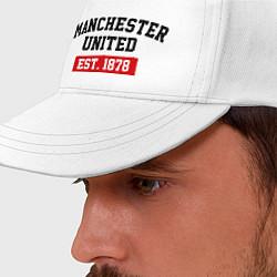 Бейсболка FC Manchester United Est. 1878 цвета белый — фото 2
