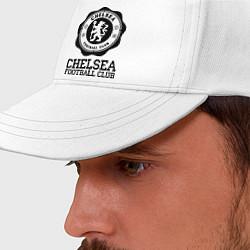 Бейсболка Chelsea FC: Emblem цвета белый — фото 2