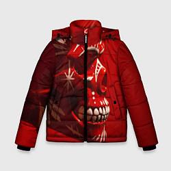 Куртка зимняя для мальчика Красный череп цвета 3D-черный — фото 1