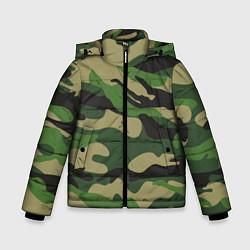 Куртка зимняя для мальчика Камуфляж: хаки/зеленый цвета 3D-черный — фото 1