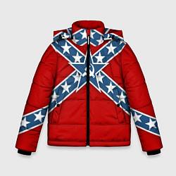 Куртка зимняя для мальчика Флаг советской конфедерации цвета 3D-черный — фото 1