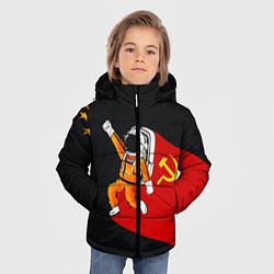 Детская зимняя куртка для мальчика с принтом Советский Гагарин, цвет: 3D-черный, артикул: 10108019006063 — фото 2