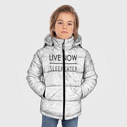 Детская зимняя куртка для мальчика с принтом Live Now Sleep Later, цвет: 3D-черный, артикул: 10108190606063 — фото 2