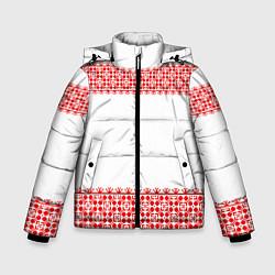 Куртка зимняя для мальчика Славянский орнамент (на белом) цвета 3D-черный — фото 1