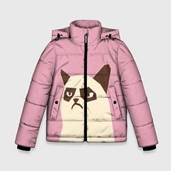 Куртка зимняя для мальчика Grumpy cat pink цвета 3D-черный — фото 1
