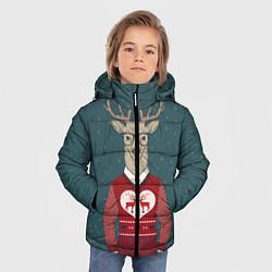 Куртка зимняя для мальчика Олень хипстер цвета 3D-черный — фото 2