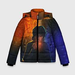 Куртка зимняя для мальчика Виктор Цой в ночи цвета 3D-черный — фото 1