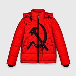 Куртка зимняя для мальчика Серп и молот цвета 3D-черный — фото 1