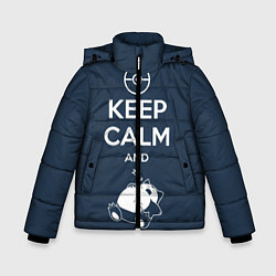 Куртка зимняя для мальчика Keep Calm & Squirtle цвета 3D-черный — фото 1