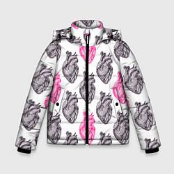 Куртка зимняя для мальчика Сердца 1 цвета 3D-черный — фото 1