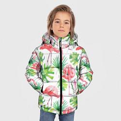 Куртка зимняя для мальчика Фламинго в тропиках цвета 3D-черный — фото 2