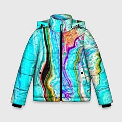 Детская зимняя куртка для мальчика с принтом Цветные разводы, цвет: 3D-черный, артикул: 10134102306063 — фото 1