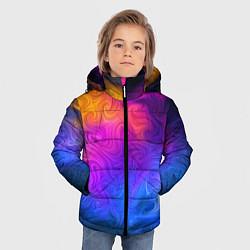 Детская зимняя куртка для мальчика с принтом Узор цвета, цвет: 3D-черный, артикул: 10135228306063 — фото 2