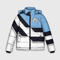Детская зимняя куртка для мальчика с принтом Manchester City FC: White style, цвет: 3D-черный, артикул: 10136813906063 — фото 1