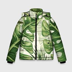 Куртка зимняя для мальчика Тропический папоротник цвета 3D-черный — фото 1