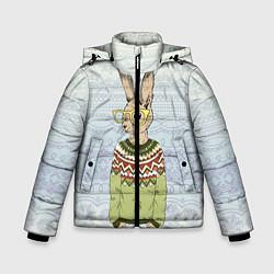 Детская зимняя куртка для мальчика с принтом Кролик хипстер, цвет: 3D-черный, артикул: 10139174706063 — фото 1