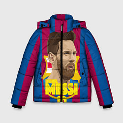Детская зимняя куртка для мальчика с принтом FCB Lionel Messi, цвет: 3D-черный, артикул: 10139223506063 — фото 1