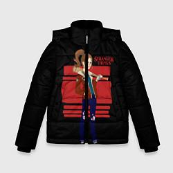 Куртка зимняя для мальчика Очень странные дела цвета 3D-черный — фото 1