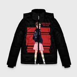 Детская зимняя куртка для мальчика с принтом Очень странные дела, цвет: 3D-черный, артикул: 10141030906063 — фото 1