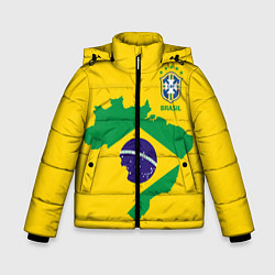 Куртка зимняя для мальчика Сборная Бразилии: желтая цвета 3D-черный — фото 1