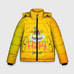 Куртка зимняя для мальчика Happy Birthday цвета 3D-черный — фото 1