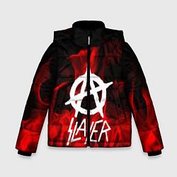 Детская зимняя куртка для мальчика с принтом Slayer Flame, цвет: 3D-черный, артикул: 10151631306063 — фото 1
