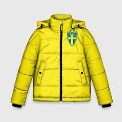 Детская зимняя куртка для мальчика с принтом Сборная Швеции: Домашняя ЧМ-2018, цвет: 3D-черный, артикул: 10151654706063 — фото 1
