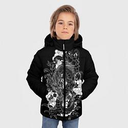 Детская зимняя куртка для мальчика с принтом Японский дракон, цвет: 3D-черный, артикул: 10173336906063 — фото 2