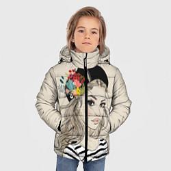 Куртка зимняя для мальчика Парижанка в берете цвета 3D-черный — фото 2