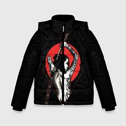 Детская зимняя куртка для мальчика с принтом Девушка с мечом, цвет: 3D-черный, артикул: 10180363506063 — фото 1
