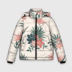 Куртка зимняя для мальчика Розовый фламинго и цветы цвета 3D-черный — фото 1