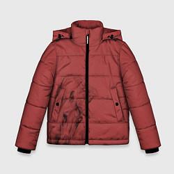Куртка зимняя для мальчика Конь на красном фоне цвета 3D-черный — фото 1