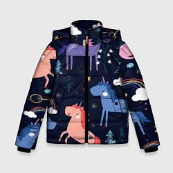 Куртка зимняя для мальчика ЕДИНОРОЖКИ цвета 3D-черный — фото 1