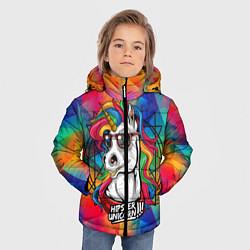 Куртка зимняя для мальчика Единорог хипстер цвета 3D-черный — фото 2