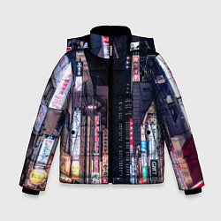 Детская зимняя куртка для мальчика с принтом Ночной Токио, цвет: 3D-черный, артикул: 10209190906063 — фото 1