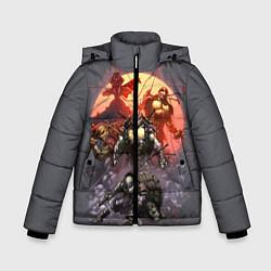 Куртка зимняя для мальчика Черепашки на восходе цвета 3D-черный — фото 1