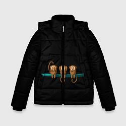 Детская зимняя куртка для мальчика с принтом Обезьяны слух зрение речь трио, цвет: 3D-черный, артикул: 10251111906063 — фото 1