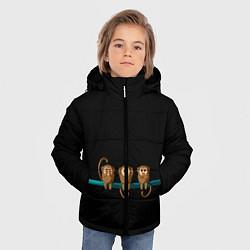Куртка зимняя для мальчика Обезьяны слух зрение речь трио цвета 3D-черный — фото 2
