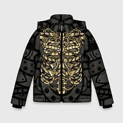 Куртка зимняя для мальчика Стимпанк Скелет цвета 3D-черный — фото 1