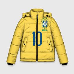 Куртка зимняя для мальчика СБОРНАЯ БРАЗИЛИИ ПЕЛЕ цвета 3D-черный — фото 1