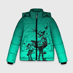 Куртка зимняя для мальчика Олень из лесных символов цвета 3D-черный — фото 1