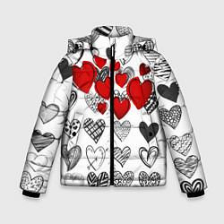 Куртка зимняя для мальчика Сердца цвета 3D-черный — фото 1