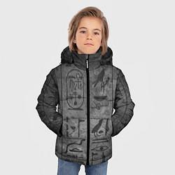 Куртка зимняя для мальчика Египетские Иероглифы 3D цвета 3D-черный — фото 2