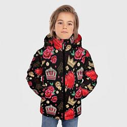 Куртка зимняя для мальчика Корона и розы цвета 3D-черный — фото 2