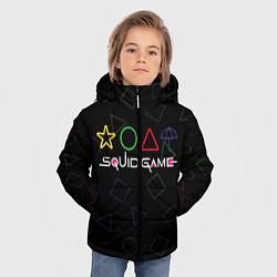 Куртка зимняя для мальчика ИГРА В КАЛЬМАРА ФИГУРЫ УЗОР цвета 3D-черный — фото 2
