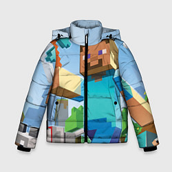 Детская зимняя куртка для мальчика с принтом Minecraft World, цвет: 3D-черный, артикул: 10064260706063 — фото 1