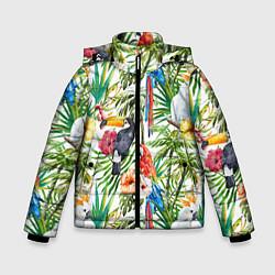 Детская зимняя куртка для мальчика с принтом Попугаи в тропиках, цвет: 3D-черный, артикул: 10065274406063 — фото 1
