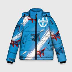 Куртка зимняя для мальчика Самолеты ВВС цвета 3D-черный — фото 1